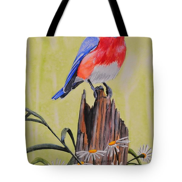 Bluebird And Daisies Tote Bag