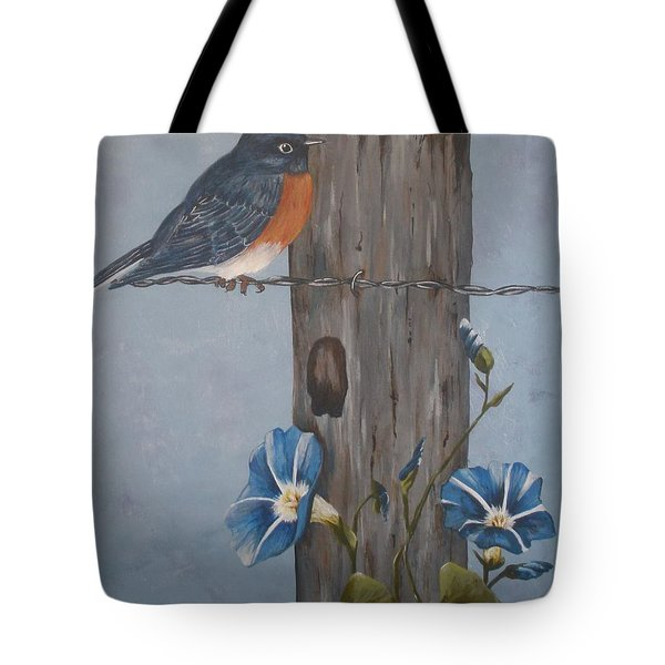 Tote Bag featuring the painting Bluebird And Morning Glories by Betty-Anne McDonald