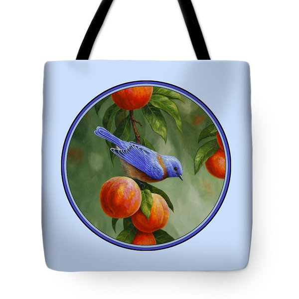 Bluebird And Peach Tree Iphone Case Tote Bag by Crista Forest
