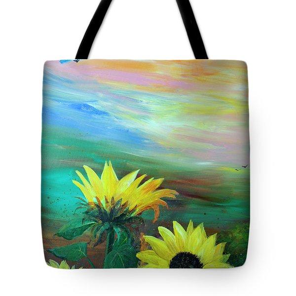 Bluebird Flying Over Sunflowers Tote Bag