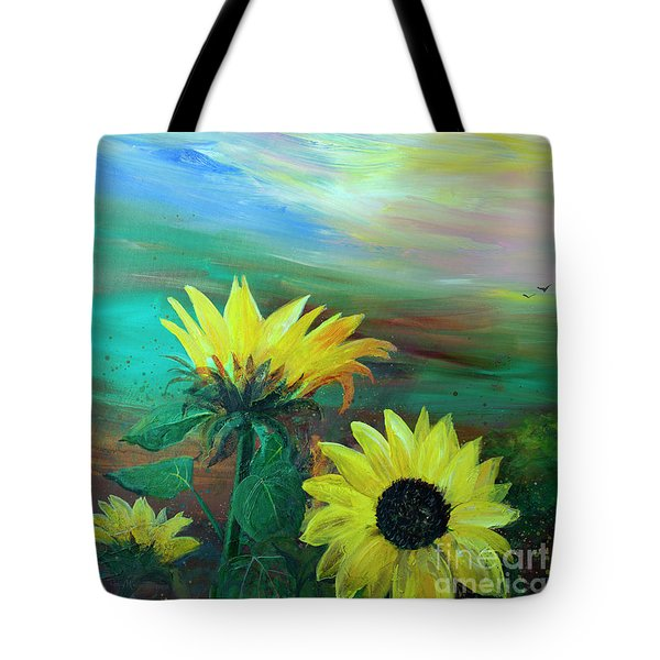 Bluebird Flying Over Sunflowers Tote Bag by Robin Maria Pedrero