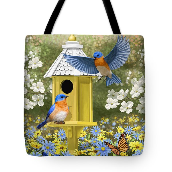 Bluebird Garden Home Tote Bag by Crista Forest