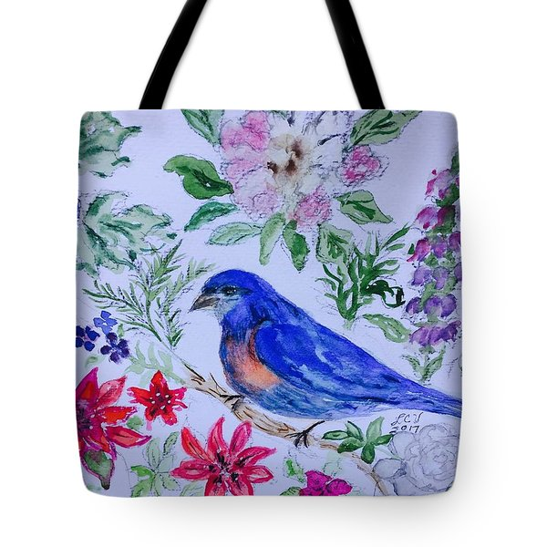 Bluebird In A Garden Tote Bag