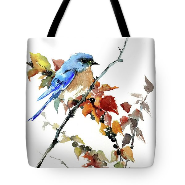 Bluebird In The Fall Tote Bag