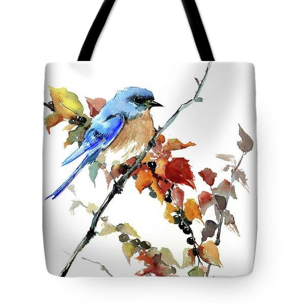 Bluebird In The Fall Tote Bag