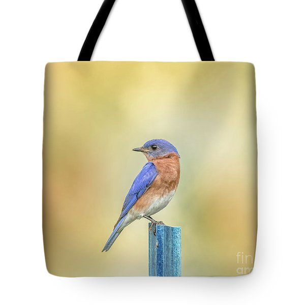 Tote Bag featuring the photograph Bluebird On Blue Stick by Robert Frederick