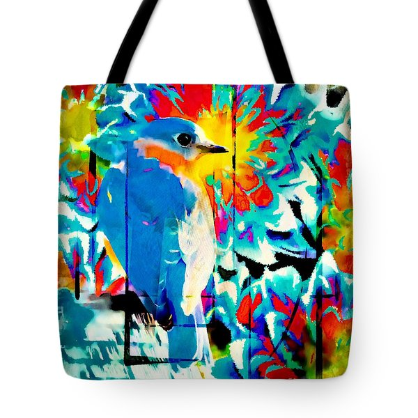 Bluebird Pop Art Tote Bag by Tina LeCour