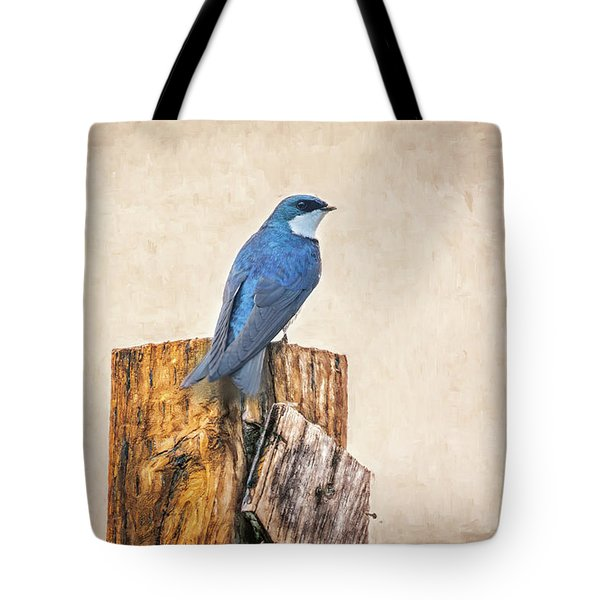 Tote Bag featuring the photograph Bluebird Post by James BO Insogna