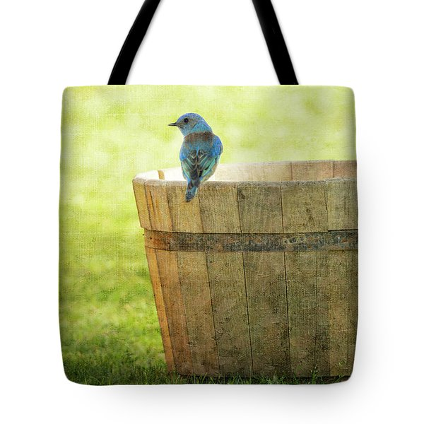 Bluebird Resting On Bucket, Textured Tote Bag