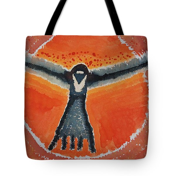 Bluebird Shaman Original Painting Tote Bag by Sol Luckman