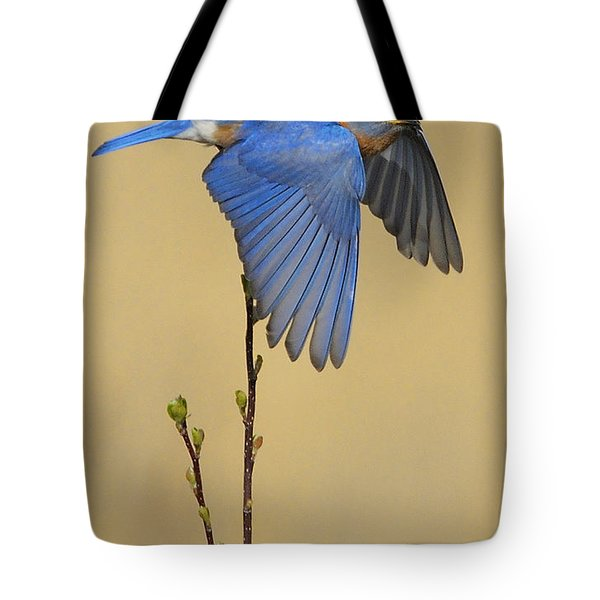 Bluebird Takes Flight Tote Bag