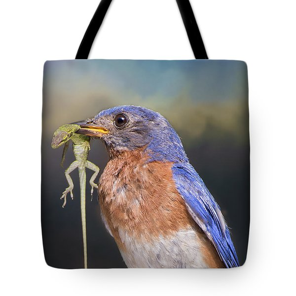 Bluebird With Lizard Tote Bag