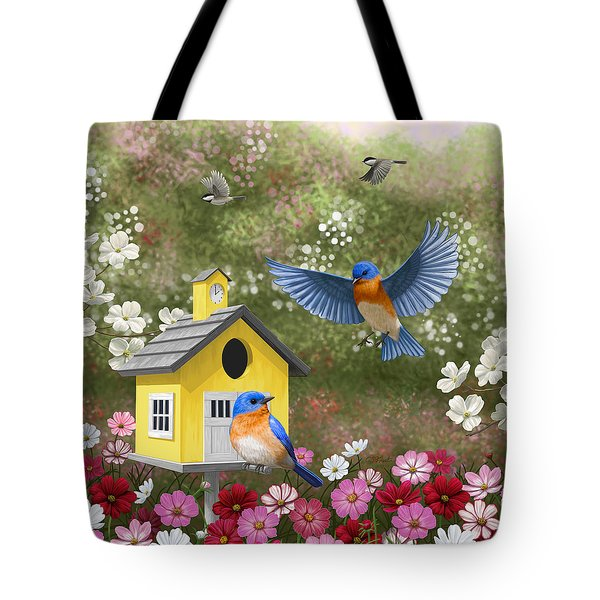 Bluebirds And Yellow Birdhouse Tote Bag by Crista Forest