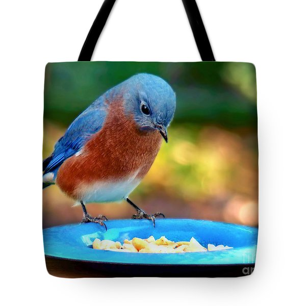 Tote Bag featuring the photograph Bluebird's Dinner by Sue Melvin
