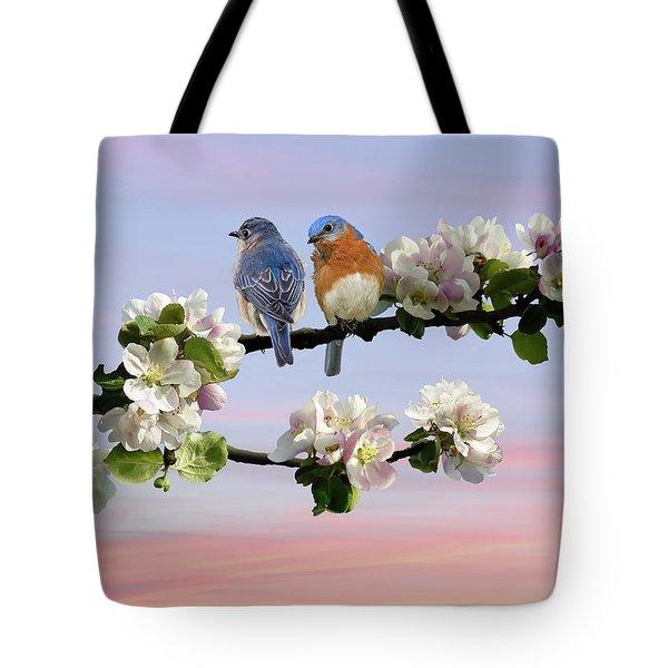 Bluebirds In Apple Tree Tote Bag