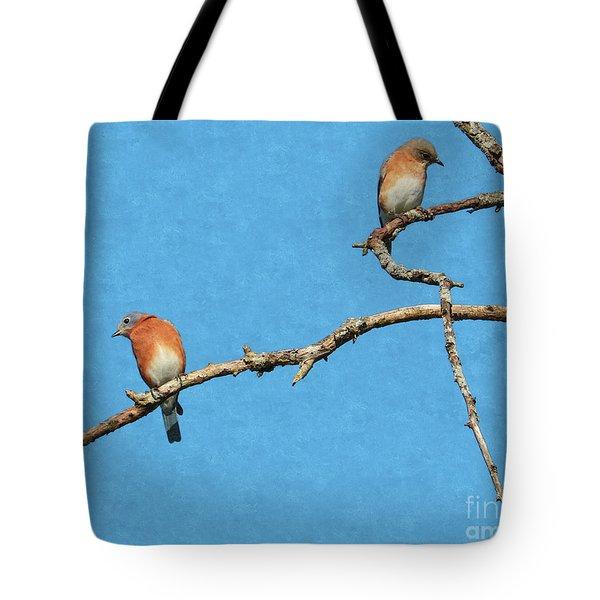 Bluebirds On A Crazy Limb Tote Bag