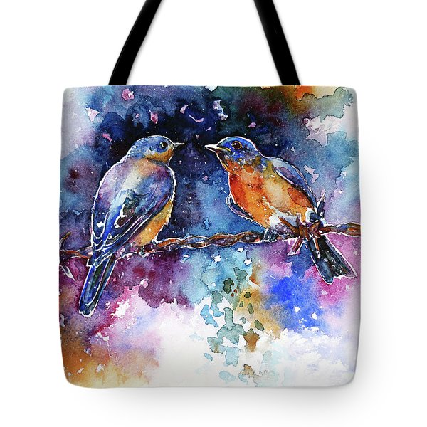 Tote Bag featuring the painting Bluebirds by Zaira Dzhaubaeva
