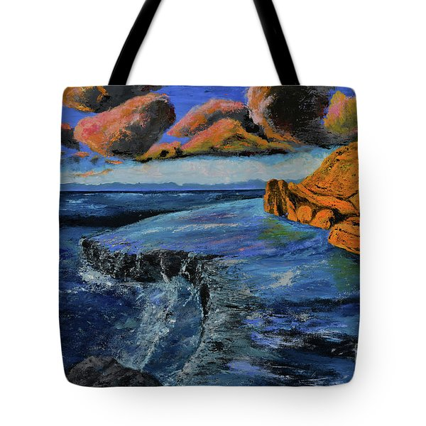 Blue,blue Ocean With Clouds Tote Bag