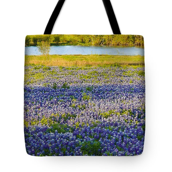 Bluebonnet Field Tote Bag by Debbie Karnes