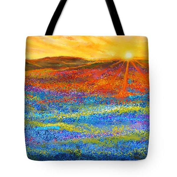 Bluebonnet Horizon - Bluebonnet Field Sunset Tote Bag
