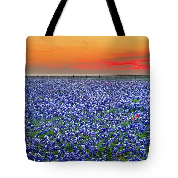 Bluebonnet Sunset Vista - Texas Landscape Tote Bag