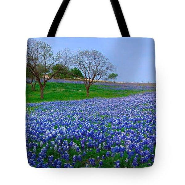 Bluebonnet Vista - Texas Bluebonnet Wildflowers Landscape Flowers  Tote Bag by Jon Holiday