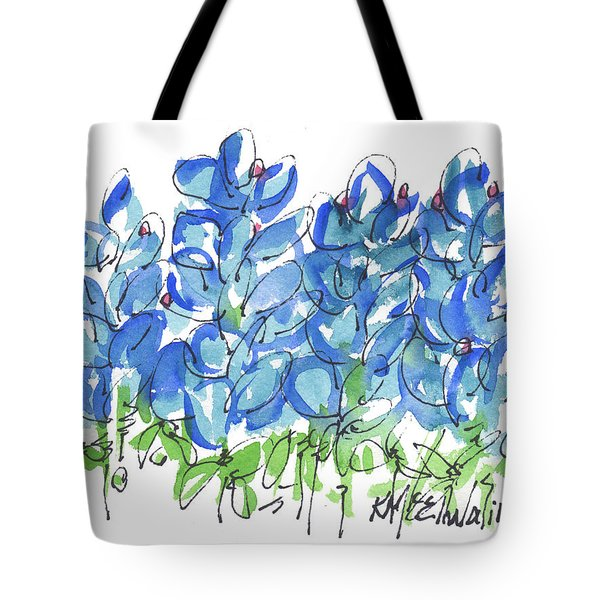 Bluebonnet Dance Whimsey,by Kathleen Mcelwaine Southern Charm Print Watercolor, Painting, Tote Bag