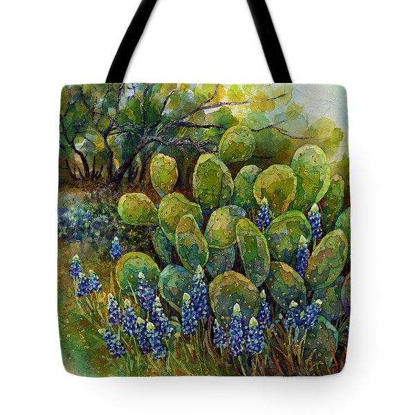 Tote Bag featuring the painting Bluebonnets And Cactus 2 by Hailey E Herrera
