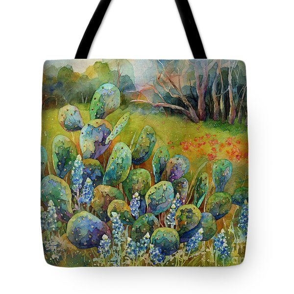 Bluebonnets And Cactus Tote Bag
