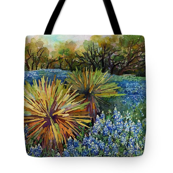 Tote Bag featuring the painting Bluebonnets And Yucca by Hailey E Herrera