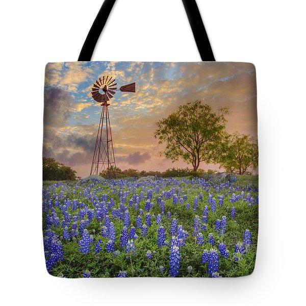 Bluebonnets Beneath A Windmill 2 Tote Bag