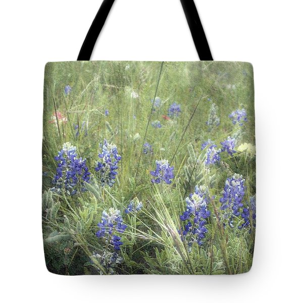 Tote Bag featuring the digital art Bluebonnets On Old Paper by Ellen O'Reilly