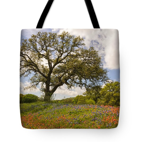 Bluebonnets Paintbrush And An Old Oak Tree - Texas Hill Country Tote Bag