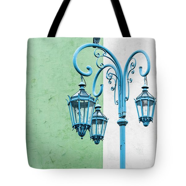 Blue,green And White Tote Bag