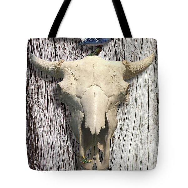 Bluejay And The Buffalo Skull Tote Bag