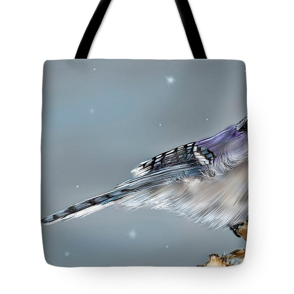 Tote Bag featuring the digital art Winter Bluejay by Darren Cannell