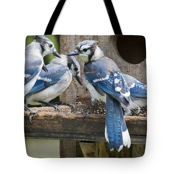 Tote Bag featuring the photograph Bluejays Party  by Ricky L Jones