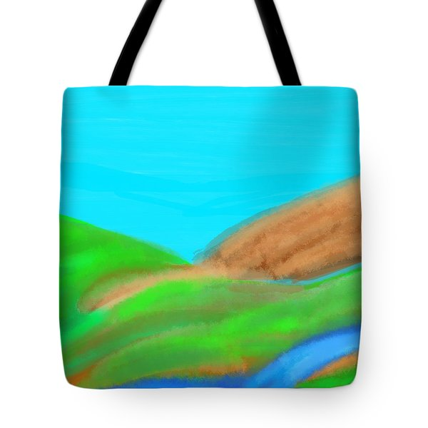 Blues And Browns On Greens Tote Bag