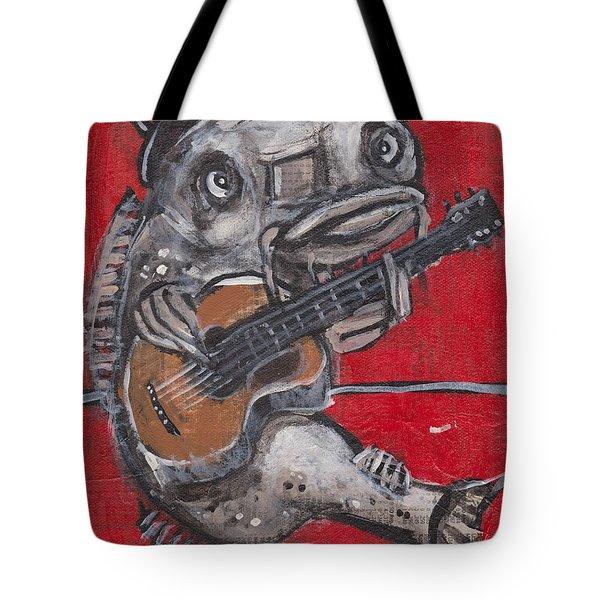 Blues Cat On Guitar Tote Bag