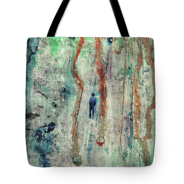 Standing In The Rain - Large Abstract Urban Style Painting Tote Bag