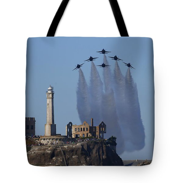 Tote Bag featuring the photograph Blues Over Alcatraz by John King