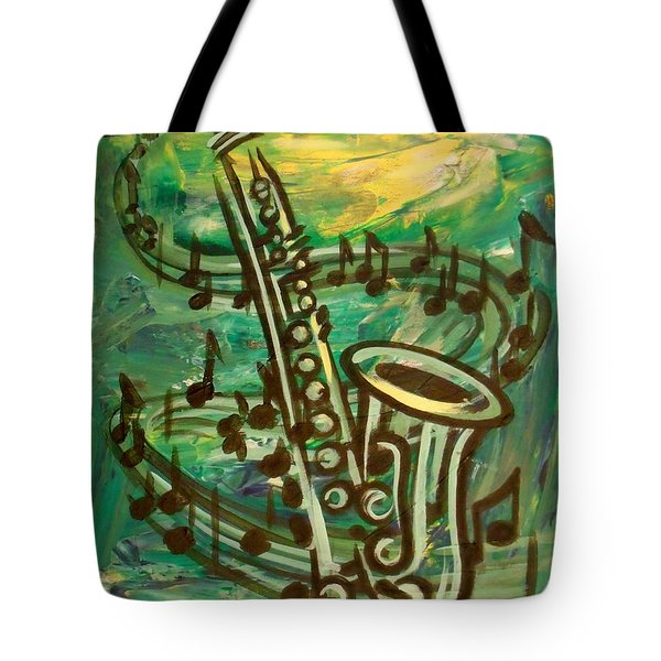 Blues Solo In Green Tote Bag by Evie Cook