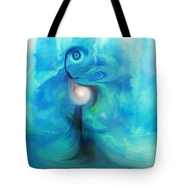 Tote Bag featuring the digital art Bluescape by Linda Sannuti