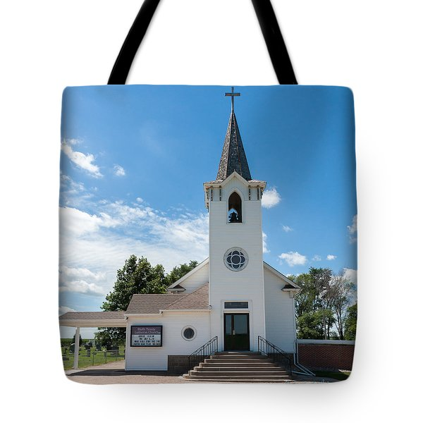 Tote Bag featuring the photograph Bluffs Trinity Lutheran Church by Edward Peterson