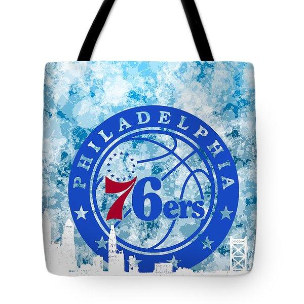 bluish backgroud for Philadelphia basket Tote Bag