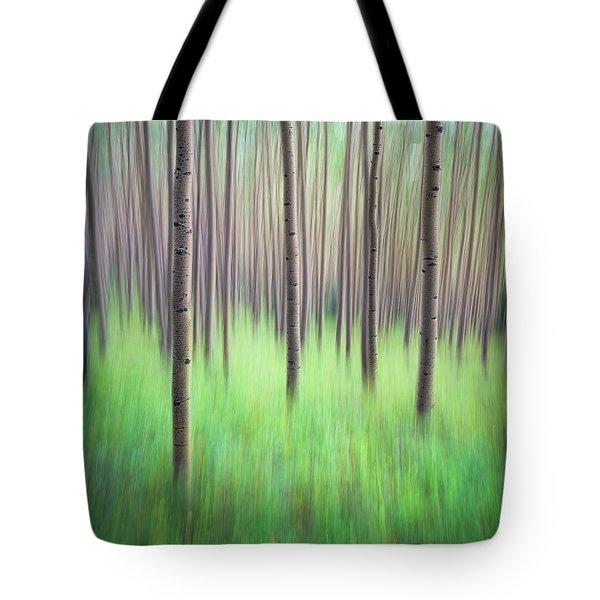 Blurred Aspen Trees Tote Bag