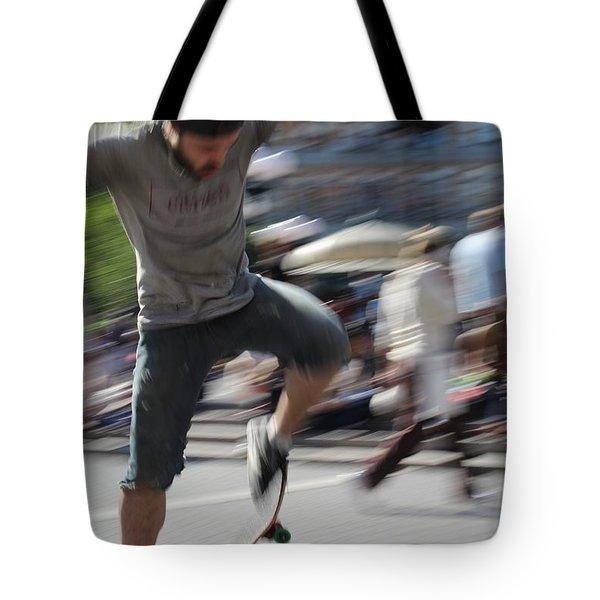 Blurred Skateboarder Tote Bag