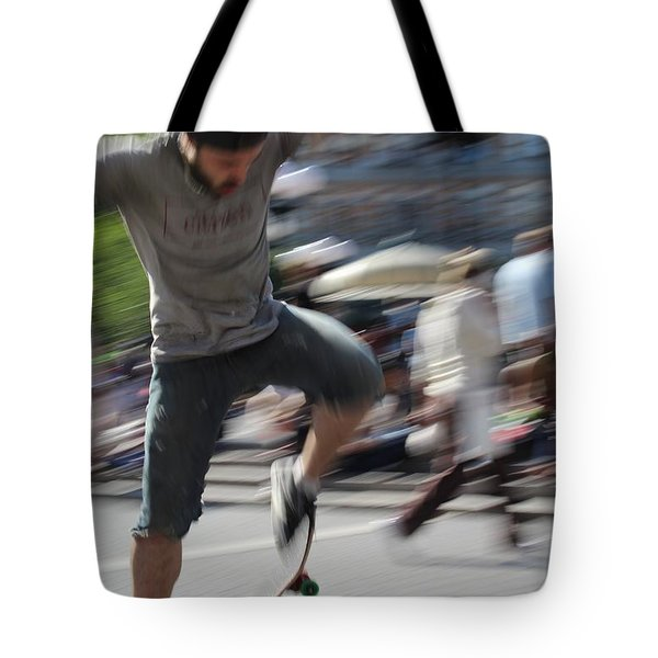 Blurred Skateboarder Tote Bag