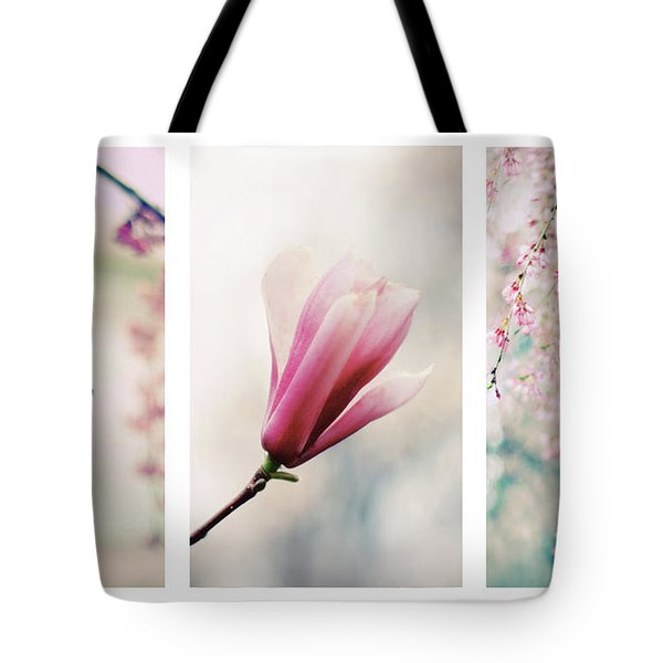Tote Bag featuring the photograph Blush Blossom Triptych by Jessica Jenney