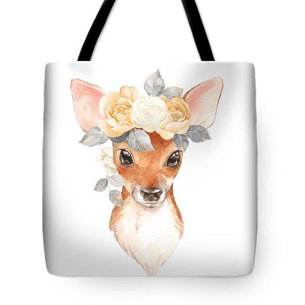 Blush Floral Deer Tote Bag